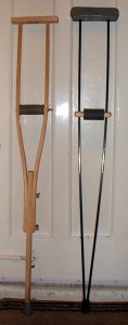 Fig 1: left: standard wooden crutch, right: home-made carbon-fibre crutch